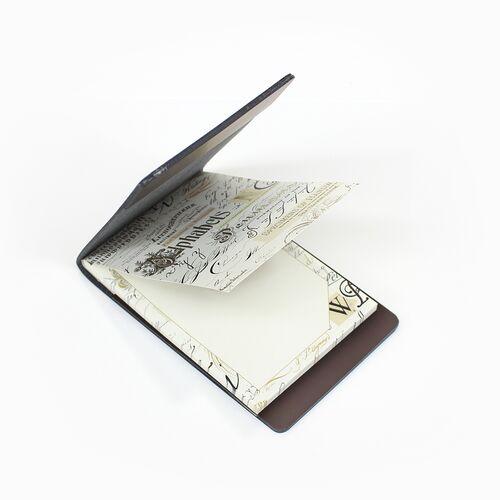 Calligraphy memo pad with Dark Brown Memo Holder