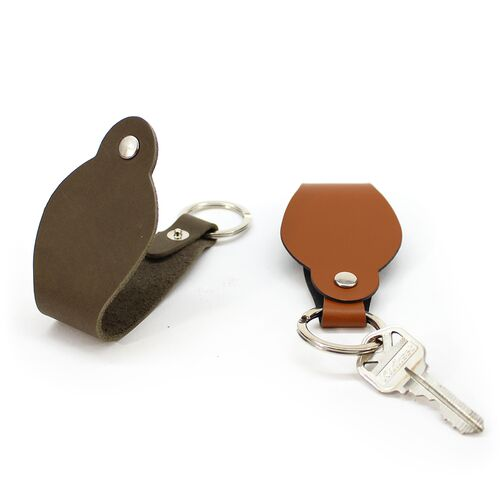 Recycled Leather Round Key Chain Strap